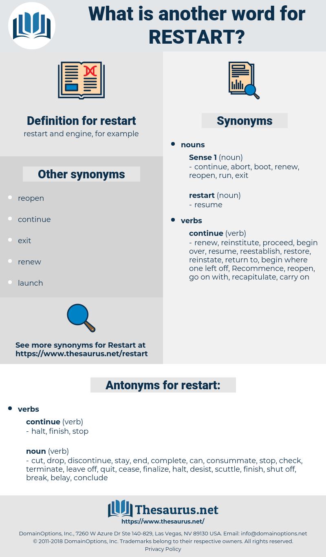 restart, synonym restart, another word for restart, words like restart, thesaurus restart