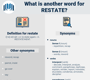 restate, synonym restate, another word for restate, words like restate, thesaurus restate
