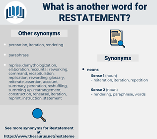 restatement, synonym restatement, another word for restatement, words like restatement, thesaurus restatement