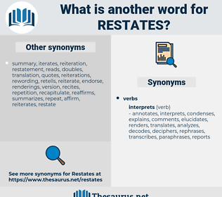 restates, synonym restates, another word for restates, words like restates, thesaurus restates
