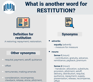 restitution, synonym restitution, another word for restitution, words like restitution, thesaurus restitution