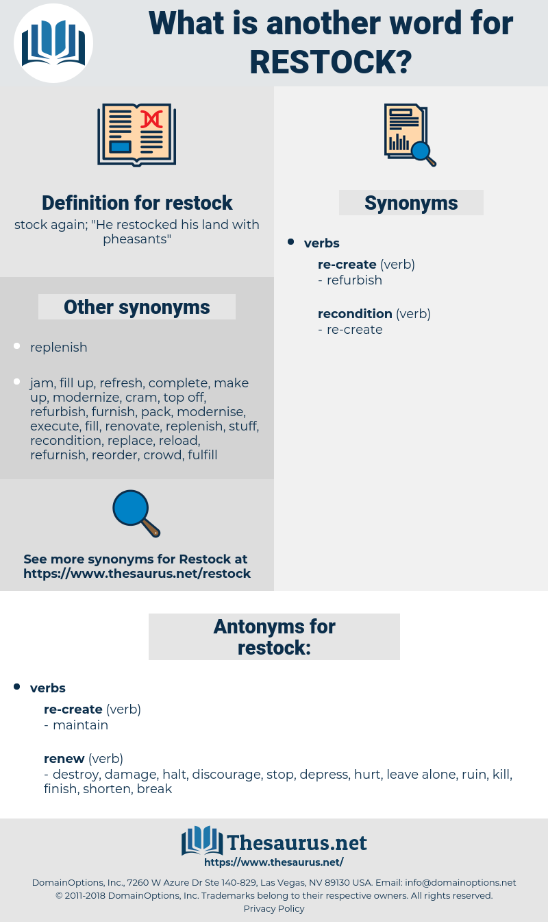 restock, synonym restock, another word for restock, words like restock, thesaurus restock