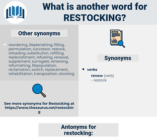 restocking, synonym restocking, another word for restocking, words like restocking, thesaurus restocking