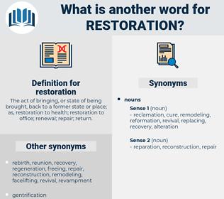 restoration, synonym restoration, another word for restoration, words like restoration, thesaurus restoration