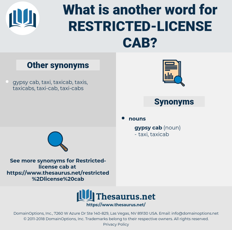 restricted-license cab, synonym restricted-license cab, another word for restricted-license cab, words like restricted-license cab, thesaurus restricted-license cab