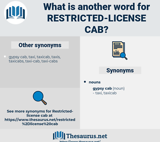 restricted license cab, synonym restricted license cab, another word for restricted license cab, words like restricted license cab, thesaurus restricted license cab