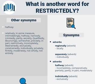 restrictedly, synonym restrictedly, another word for restrictedly, words like restrictedly, thesaurus restrictedly