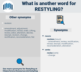 restyling, synonym restyling, another word for restyling, words like restyling, thesaurus restyling