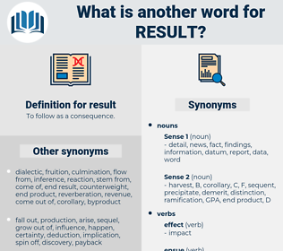 result, synonym result, another word for result, words like result, thesaurus result