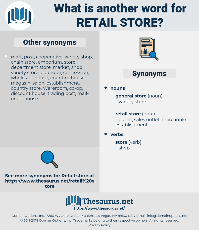 retail store, synonym retail store, another word for retail store, words like retail store, thesaurus retail store