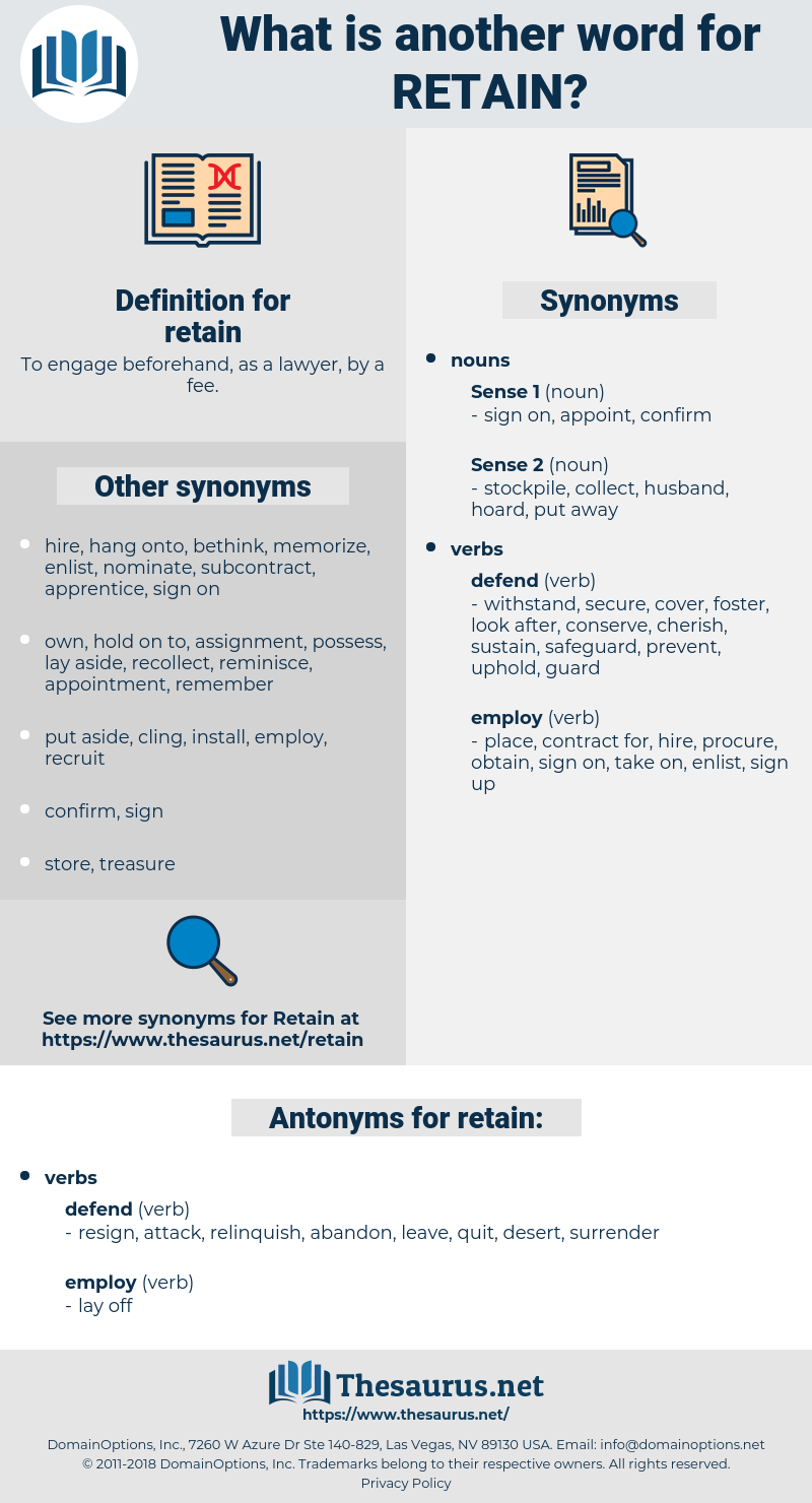 retain, synonym retain, another word for retain, words like retain, thesaurus retain