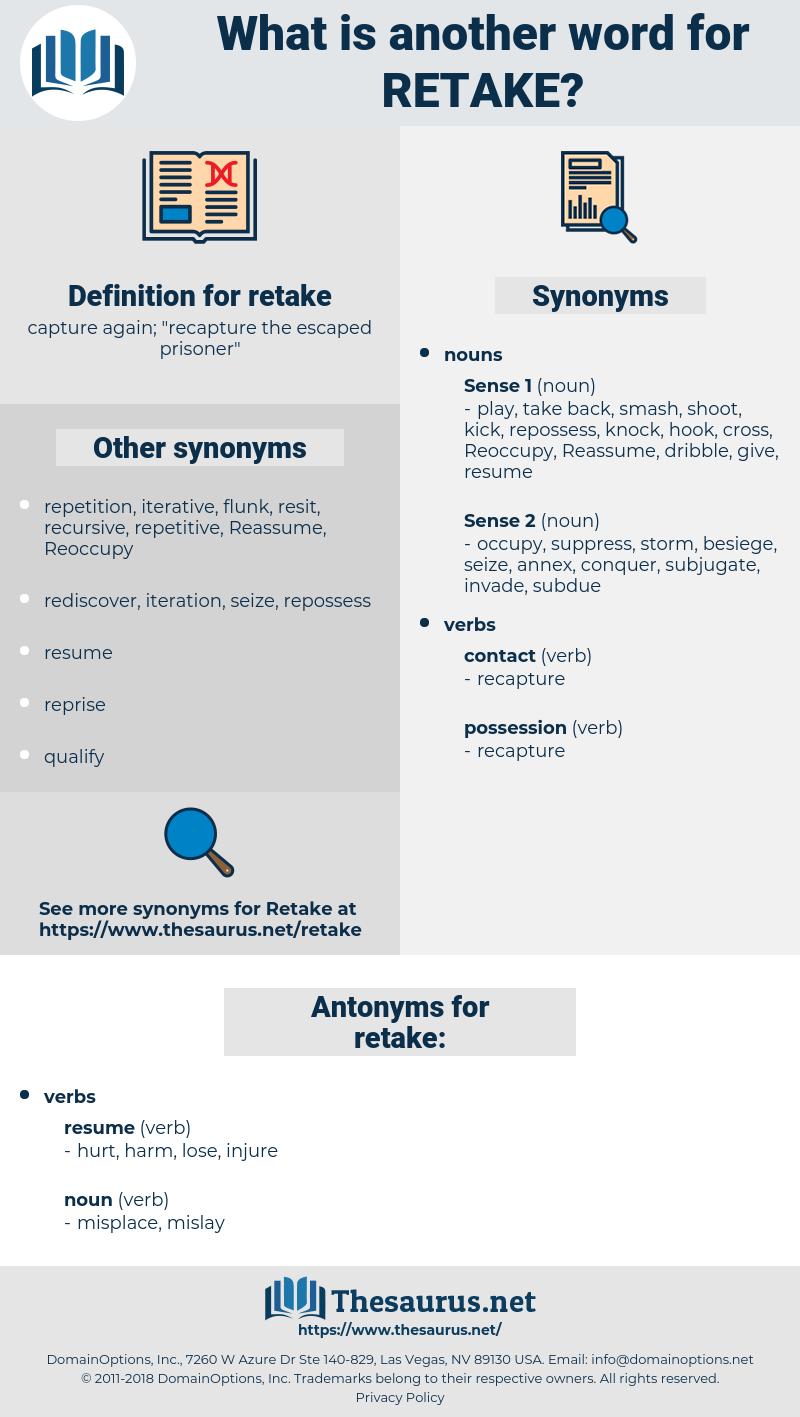 retake, synonym retake, another word for retake, words like retake, thesaurus retake