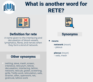 rete, synonym rete, another word for rete, words like rete, thesaurus rete