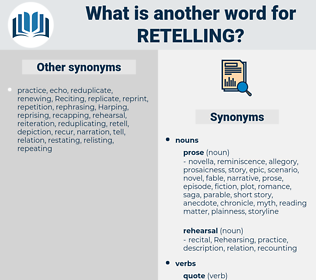 retelling, synonym retelling, another word for retelling, words like retelling, thesaurus retelling