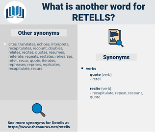 retells, synonym retells, another word for retells, words like retells, thesaurus retells