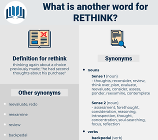 rethink, synonym rethink, another word for rethink, words like rethink, thesaurus rethink