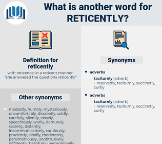reticently, synonym reticently, another word for reticently, words like reticently, thesaurus reticently
