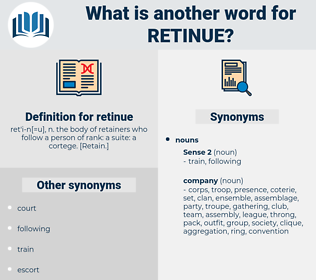 retinue, synonym retinue, another word for retinue, words like retinue, thesaurus retinue
