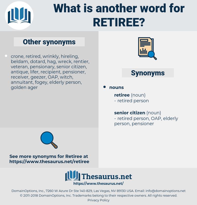 retiree, synonym retiree, another word for retiree, words like retiree, thesaurus retiree