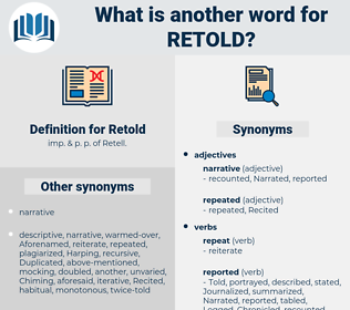 Retold, synonym Retold, another word for Retold, words like Retold, thesaurus Retold