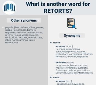 retorts, synonym retorts, another word for retorts, words like retorts, thesaurus retorts