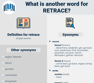 retrace, synonym retrace, another word for retrace, words like retrace, thesaurus retrace