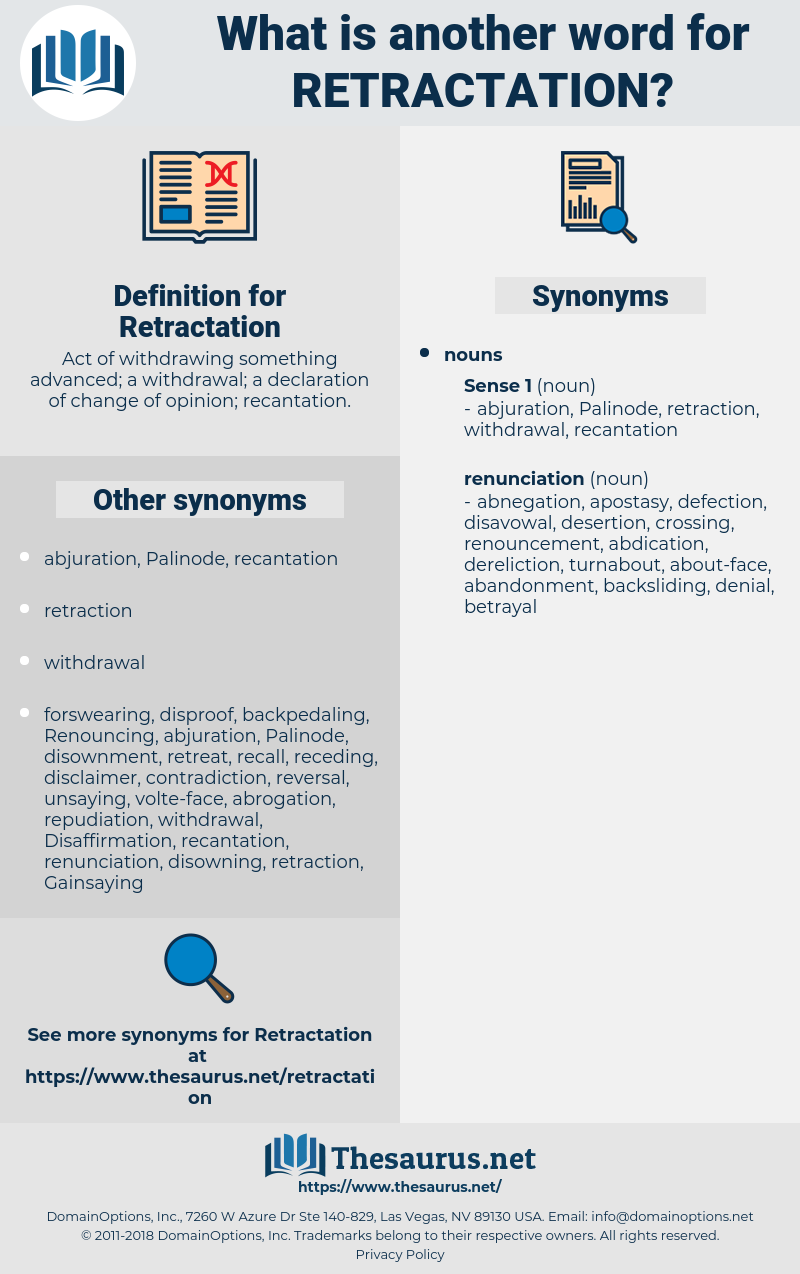 Retractation, synonym Retractation, another word for Retractation, words like Retractation, thesaurus Retractation
