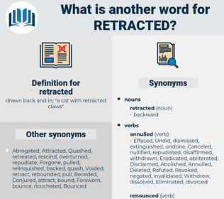 retracted, synonym retracted, another word for retracted, words like retracted, thesaurus retracted