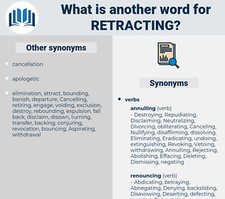 Retracting, synonym Retracting, another word for Retracting, words like Retracting, thesaurus Retracting