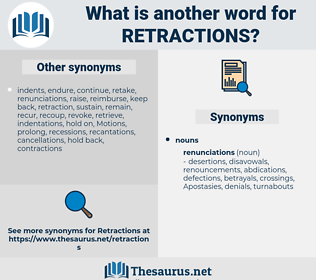 retractions, synonym retractions, another word for retractions, words like retractions, thesaurus retractions