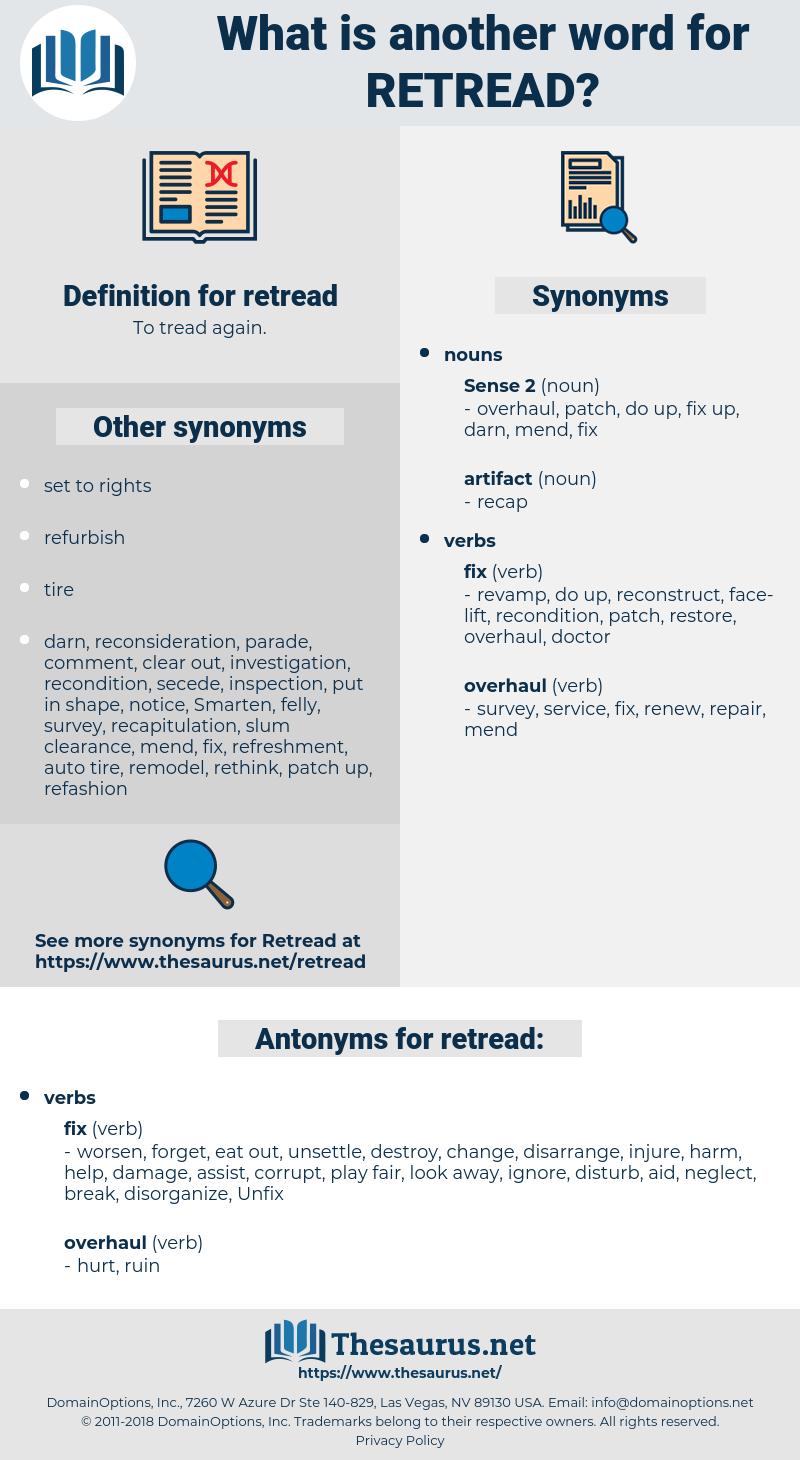 retread, synonym retread, another word for retread, words like retread, thesaurus retread