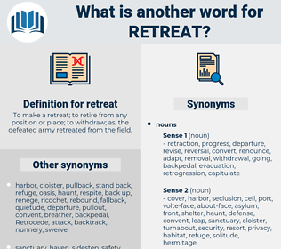 retreat, synonym retreat, another word for retreat, words like retreat, thesaurus retreat