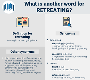 retreating, synonym retreating, another word for retreating, words like retreating, thesaurus retreating