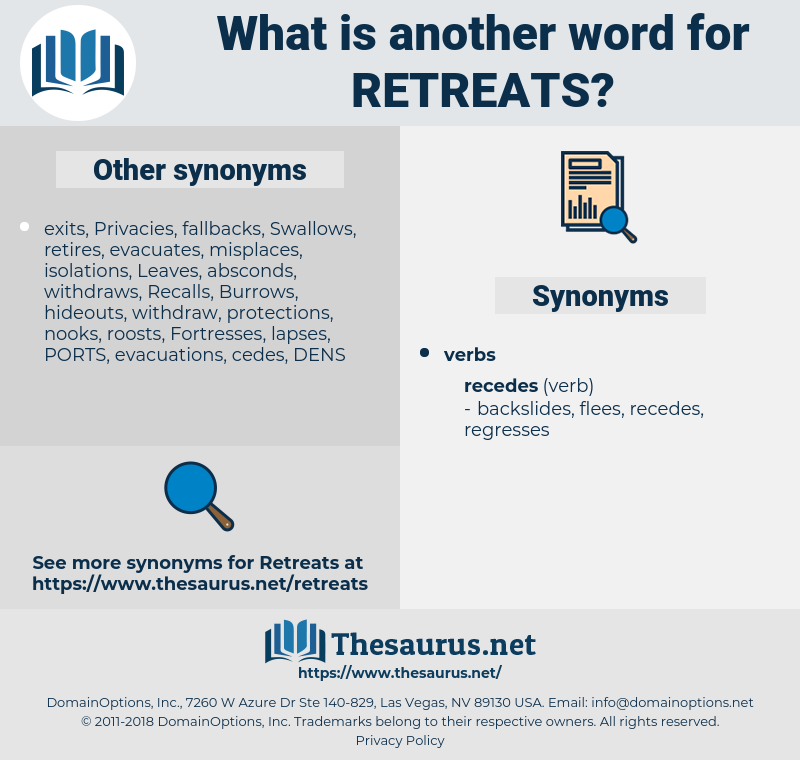 retreats, synonym retreats, another word for retreats, words like retreats, thesaurus retreats