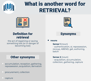 retrieval, synonym retrieval, another word for retrieval, words like retrieval, thesaurus retrieval