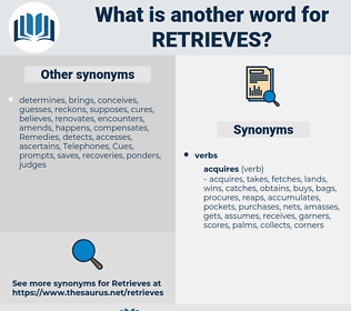 retrieves, synonym retrieves, another word for retrieves, words like retrieves, thesaurus retrieves