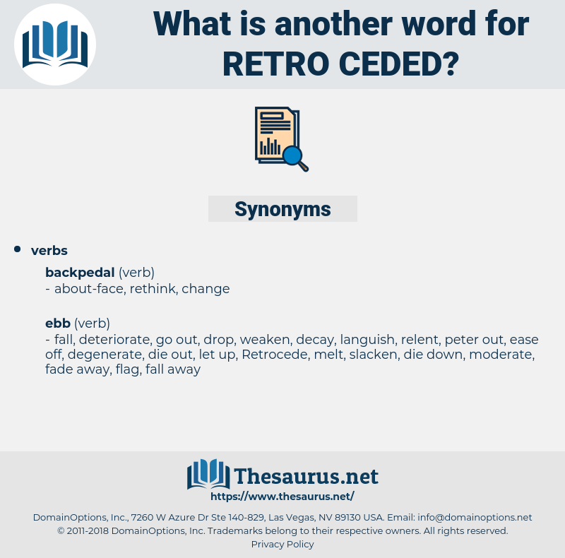 retro-ceded, synonym retro-ceded, another word for retro-ceded, words like retro-ceded, thesaurus retro-ceded