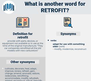 retrofit, synonym retrofit, another word for retrofit, words like retrofit, thesaurus retrofit