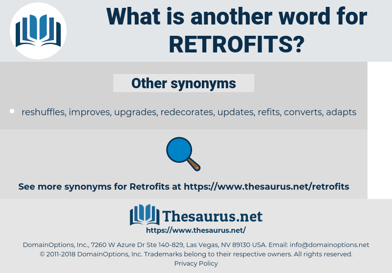 retrofits, synonym retrofits, another word for retrofits, words like retrofits, thesaurus retrofits