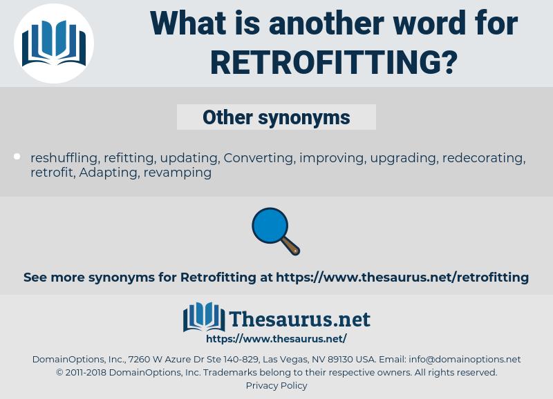 retrofitting, synonym retrofitting, another word for retrofitting, words like retrofitting, thesaurus retrofitting