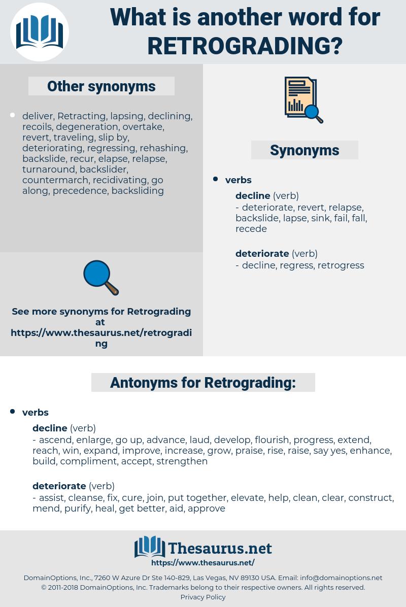 Retrograding, synonym Retrograding, another word for Retrograding, words like Retrograding, thesaurus Retrograding