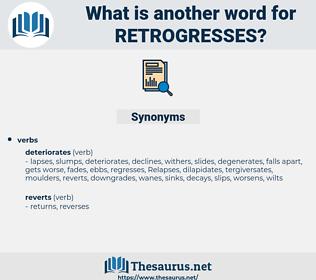 retrogresses, synonym retrogresses, another word for retrogresses, words like retrogresses, thesaurus retrogresses