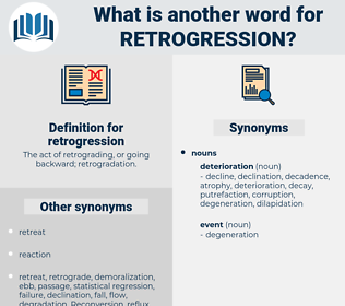 retrogression, synonym retrogression, another word for retrogression, words like retrogression, thesaurus retrogression