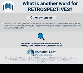 retrospectives, synonym retrospectives, another word for retrospectives, words like retrospectives, thesaurus retrospectives
