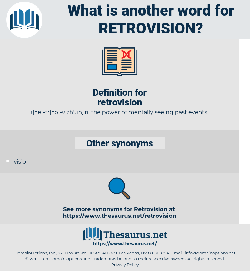retrovision, synonym retrovision, another word for retrovision, words like retrovision, thesaurus retrovision