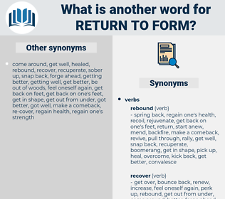 return to form, synonym return to form, another word for return to form, words like return to form, thesaurus return to form