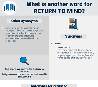return to mind, synonym return to mind, another word for return to mind, words like return to mind, thesaurus return to mind