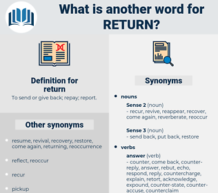 return, synonym return, another word for return, words like return, thesaurus return