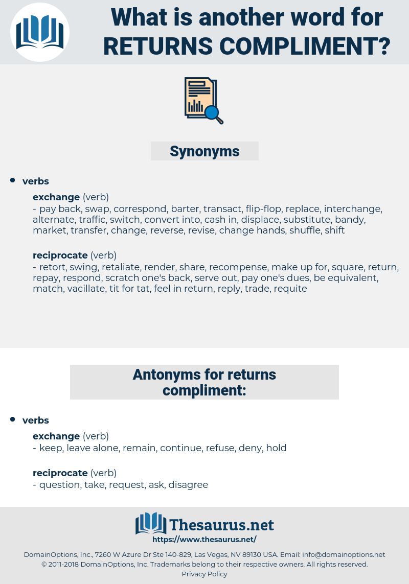 returns compliment, synonym returns compliment, another word for returns compliment, words like returns compliment, thesaurus returns compliment