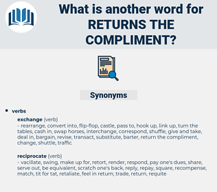 returns the compliment, synonym returns the compliment, another word for returns the compliment, words like returns the compliment, thesaurus returns the compliment